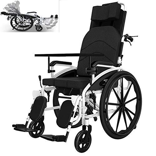 AINIDEMA Reclining rolstoel - met hoofdsteun en maaltijd, opvouwbaar vouwen en lichtgewicht draagbare stoel met veiligheidsgordel, verstelbare rugleuning en pedaal, Joystick, 17