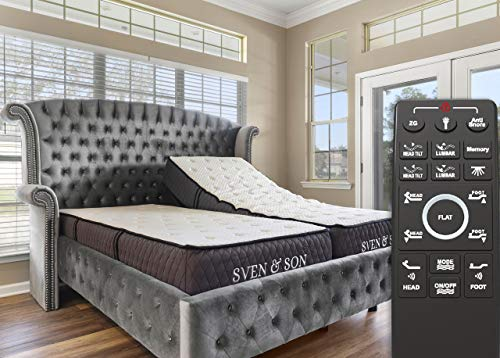 "Sven & Son Split King Adjustable Bed Base Frame + 12"" Luxury Cool Gel Memory..."
