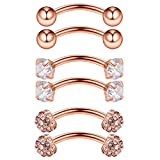 Ruifan 3PRS 16G 3/8' (10MM) Stainless Steel 3mm CZ/Gems/Ball Curved Barbell Eyebrow Tragus Lip Belly Ring Piercing Jewelry - Rose Gold