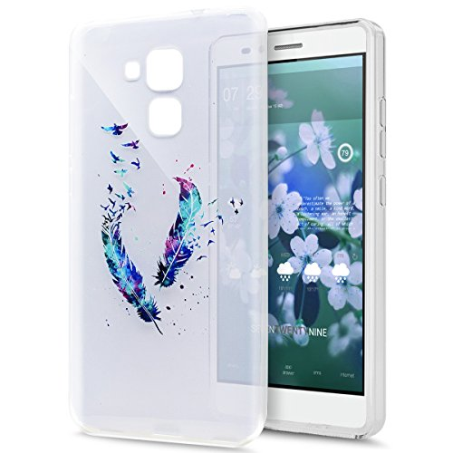 Kompatibel mit Huawei Honor 5C Hülle Schutzhülle,Gemalt Kunst Malerei Handyhülle Silikon TPU Silikon Hülle Handyhülle Tasche Durchsichtig Schutzhülle für Huawei Honor 5C Hülle,Blau Feder Vögel