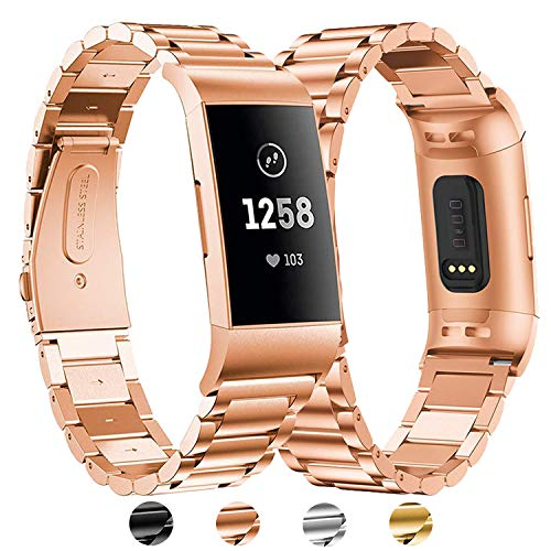 BDIG Für Fitbit Charge 3 Edelstahl Armband, Charge 4 Wasserdicht Edelstahl Metall Handgelenk Ersatzband Armbänder mit Starkem Metallschließe für Fitbit Charge3 Charge 4 (for Fitbit Charge 3,Rosegold)