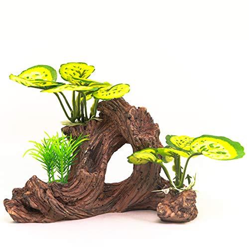 Aqua KT Aquarium Landscape Driftwood with Plastic Plant for Fish Tank Aquatic Ornament, Made of Resin