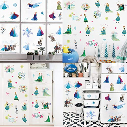 Kibi 2 Fogli Frozen Disney Stickers Muraux Reine des Neiges Salon Amovible Stickers Mural Elsa, Chambre Bebe Autocollants Frozen, Stickers Muraux Chambre Enfant Fille Princesse