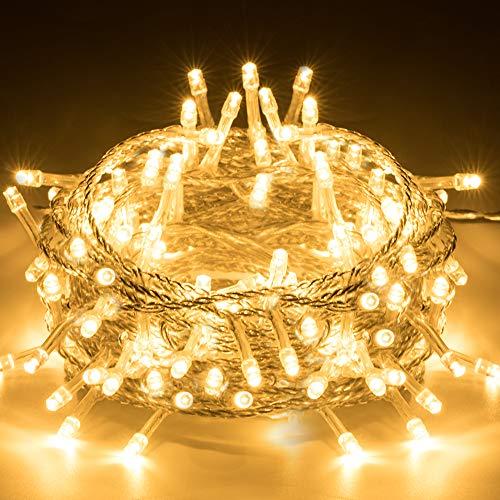 LED Lichterkette Außen 100 LEDs Elegear 10M LED Lichterkette Warmweiß Weihnachtsbeleuchtung Strombetrieb Deko 8 Modi für Innen Außen Neujahr Weihnachten Geburtstag Feiertag Party Hotel Garten Hochzeit