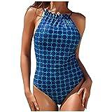 EUCoo - Bañador de una pieza con cuello alto para mujer azul M