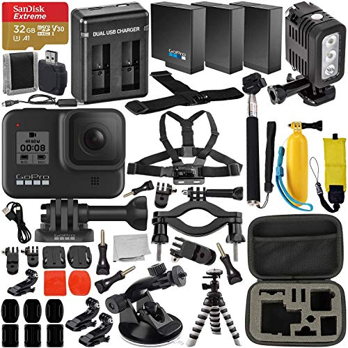 GoPro HERO8 (Hero 8) Action Camera (Black) with Premium Accessory Bundle –Includes: SanDisk Extreme 32GB microSDHC Memory Card, 2x Spare Battery, Dual Battery Charger, Underwater LED Light & MUCH MORE