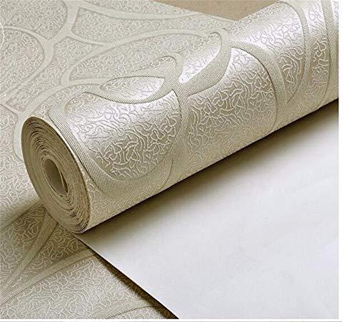 YUKANGI Wandtapete mit Rosenmuster, für Wohnzimmer, Schlafzimmer, einfache Tapete, Rolle, Tischhintergrund, Heimdekoration, beige, 10m x 0.53m
