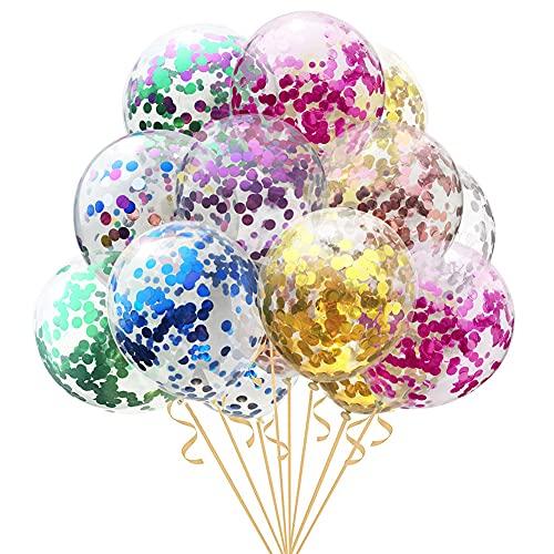 CYSJ Confetti Balloons 16pcs Palloncino con Paillettes Compleanno Palloncini in Lattice per Matrimonio, Compleanno, Baby Shower, Laurea,Party Decorazioni e Cerimonia Celebrazione