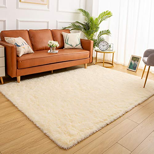 YJ.GWL Soft Shaggy Area Rugs for Bedroom Fluffy Living Room Rugs Anti-Skid Nursery Girls Carpets Kids Home Decor Rugs 5.3 x 7.6 Feet Beige