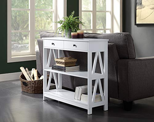 White Finish 3-Tier Console Sofa Entryway Table A-Design Sides with Shelf and Two Drawers by RAAMZO