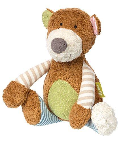 sigikid, Mädchen und Jungen, Stofftier Bär, Patchwork Green, Braun/Mehrfarbig, 38768