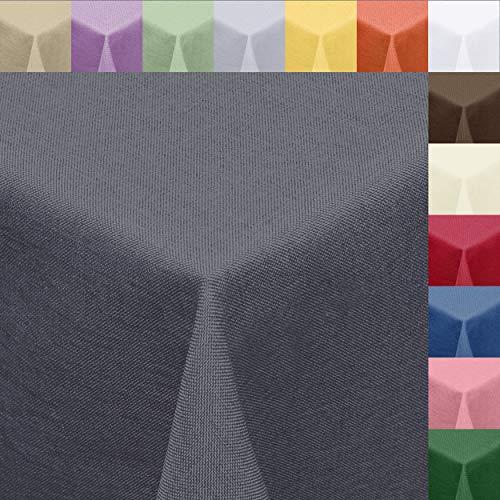 Melody Textil Tischdecke Leinen-Optik 140cm rund mit Fleck-Schutz grau *wasserabweisend* Farbe wählbar