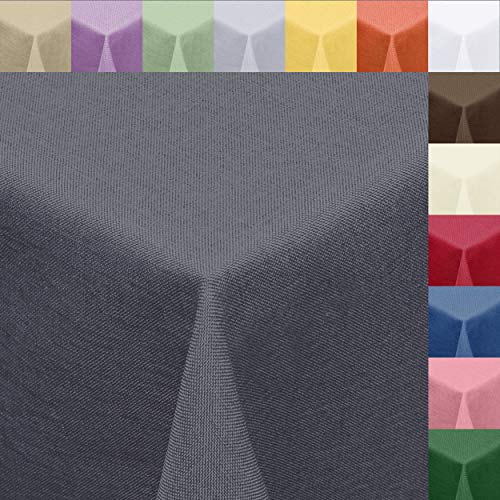 Textil Tischdecke Leinen-Optik 160cm rund mit Fleck-Schutz grau *abwaschbar* Farbe wählbar