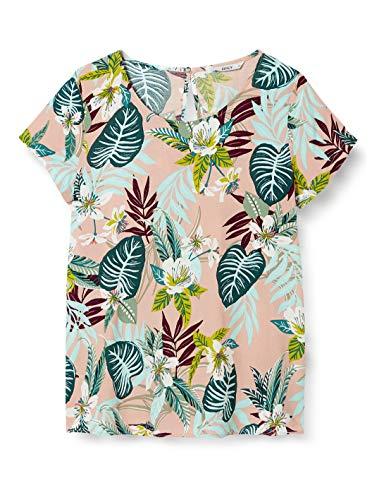 ONLY Damen ONLFIRST ONE Life SS AOP TOP NOOS WVN T-Shirt, Rose Smoke, 38