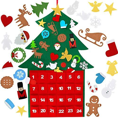 CODIRATO Filz Weihnachtsbaum Adventskalender Weihnachten Wandbehang Deko hängende Weihnachtsbaum mit Abnehmbare Ornamente DIY Tannenbaum Kinder Filz Weihnachtsspiel für Weihnachtlichen Dekoration