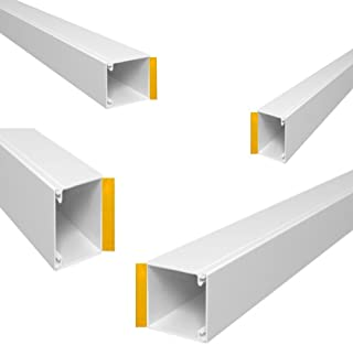 Wire4u - Canaleta blanca auto adhesiva de PVC para canalización de cables, longitud de 2 x 75 cm. Con varias medidas a elegir, entre las que se encuentran 10x8, 10x16, 16x16, 25x16, 38x16 y 38x25 mm.
