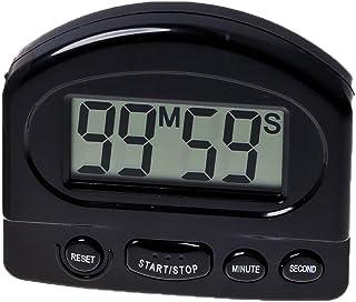 Cocina digital electrónico cuenta regresiva del temporizador con imán dígitos grande alarma ideal para cocina, niños, profesor, cuarto de baño (negro), 1 PC