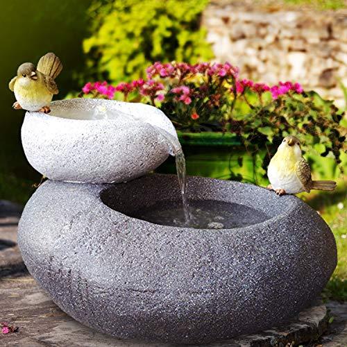 Gartenbrunnen Brunnen Zierbrunnen Zimmerbrunnen Springbrunnen Brunnen mit LED-Licht 230V Wasserfall Wasserspiel für Garten, Gartenteich, Terrasse, Balkon Sehr Dekorativ (FELS SCHALEN mit LED-Licht)
