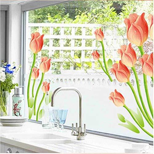 XXZ Wall Sticker Pegatinas románticas de pared de tulipán para sala de estar, dormitorio, sofá, televisión, decoración del hogar, PVC, decoración de boda