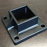 Aluminum Heavy Duty Floor Post Flange fits 2' Sq Post for Fence or Deck - Black (2)