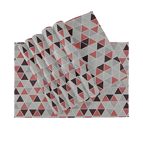 DUKAI Tischset Seamless Triangle Pattern Vektor Hintergrund Geometrische, hitzebeständige rutschfeste Tischsets, geeignet für Esstisch Home Kitchen Office und Outdoor, 6er-Set