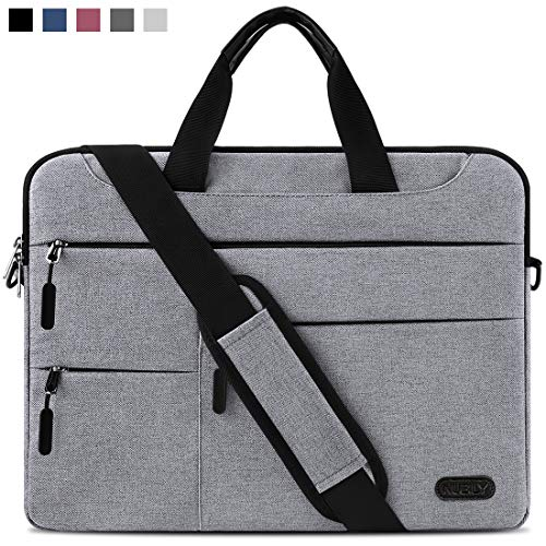 Laptop Bag 15.6 Inch Laptop Case Portable Sleeve Briefcase Waterproof Computer Shoulder Bag Lightweight Messenger School Work For Men Women Lightgrey