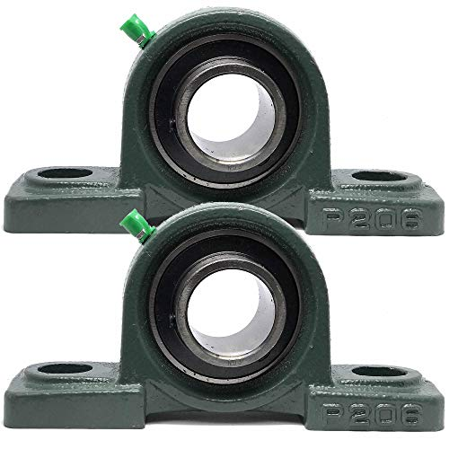 "PGN - UCP206-20 Pillow Block Mounted Ball Bearing - 1-1/4"" Bore - Solid Cast Iron Base - Self Aligning (2 PCS)"