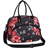 Lunch Bags for Women and Men, Insulated Lunch Box Cooler Tote Bag With Detachable Shoulder Strap for Work and Travel Meal Prep (Black Rose)