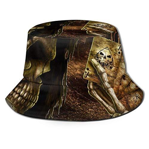 XCNGG Sombrero de Pescador Unisex para Adultos Skeletons Skull Play Ace Spade Bucket Hat, Gorra de Sol...
