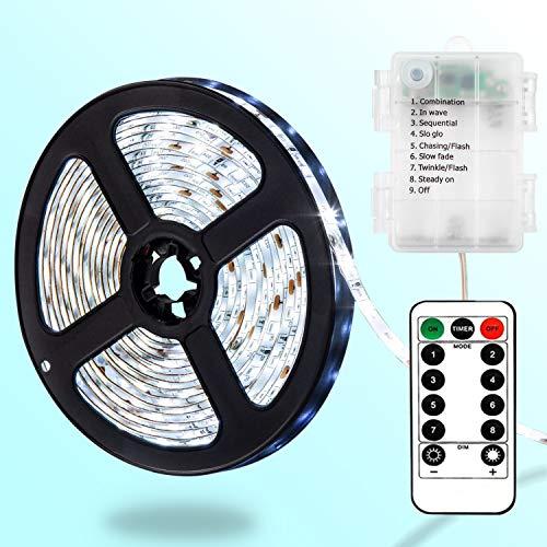 DreiWasser LED Licht Streifen, 2m 60 LEDs Lichtband Batteriebetrieben Streifenlichter 8 Modi mit IR Fernbedienung (Kaltweiß)