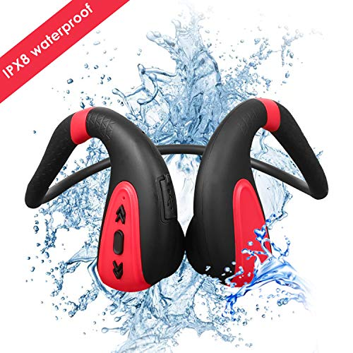 Schwimmen MP3-Player Bluetooth 5.0 Knochenleitung Bluetooth Headset Kopfhörer 8G MP3-Player wasserdicht Wireless Sport Headset (schwarz rot)