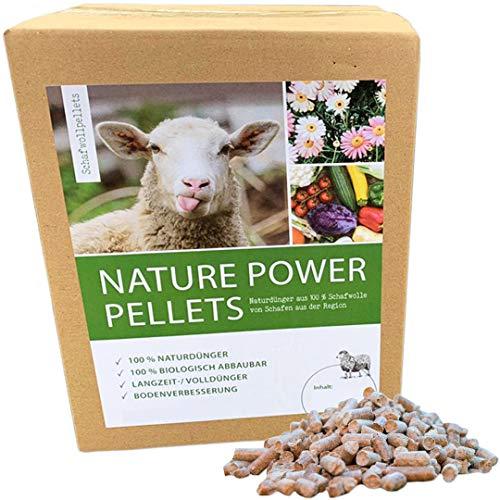 Nature Power Pellets 100% Schafwollpellets 10kg Biologischer Naturdünger Universal Obstdünger Pflanzendünger Gemüsedünger Zierpflanzendünger Langzeitdünger Kräuterdünger 90510