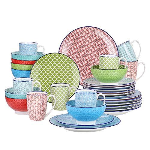 Vancasso Tafelservice Porzellan, Tafelservice bunt, Macaron 32 teilig Geschirrset, mit je 8 Speiseteller, Dessertteller, Müslischalen und Kaffeebecher für 8 Personen
