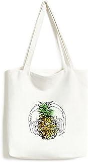 DIYthinkerHeadset Pineapple Sunglasses Fruit Tote Canvas Bag Shopping Satchel Casual Handbag