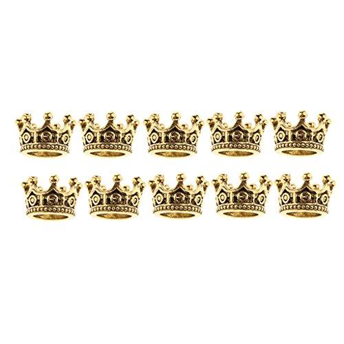 MagiDeal 10er Set Vintage DIY Krone Anhänger Charms Beads Schmuckanhänger für Halskette Armband - Gold, 6 x 11 mm