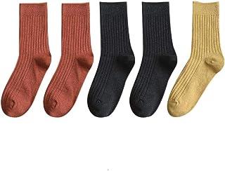 Windflows, Calcetines De Algodón Para Estudiantes Estilo Japonés En Otoño E Invierno Calcetines Finos De Pelo Negro Para Niña, Talla Única Para Todos, Rojo Ladrillo 2 Negro 2 Cúrcuma