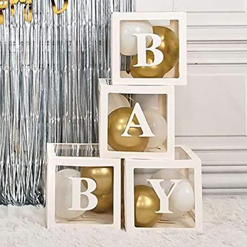 ATFUNSHOP Babyparty Dekoration 4PCS Ballon Box mit Baby Buchstaben für Baby Girl Boy Registry Neuen Jahr Geburtstagsfeier liefert Dekor