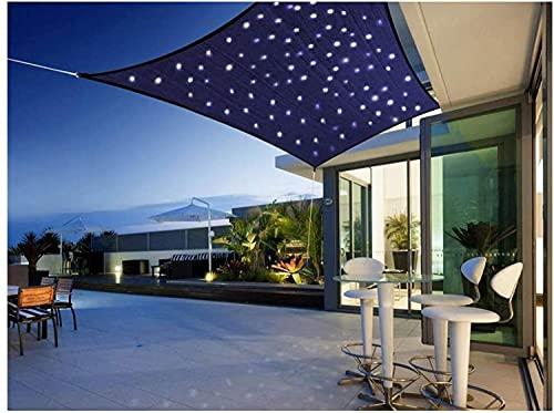 HYISHION Toldo Vela de Sombra Rectangular con Luces LED, Toldo Impermeable 95% UV Protección para Patio/Jardín,Azul,2X3m
