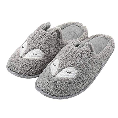 Tuiyata Cute Animal Slippers for Women Mens Winter Warm Memory Foam Cotton Home Slippers Soft Plush Fleece Slip on House Slippers for Girls Indoor Outdoor Shoes Grey
