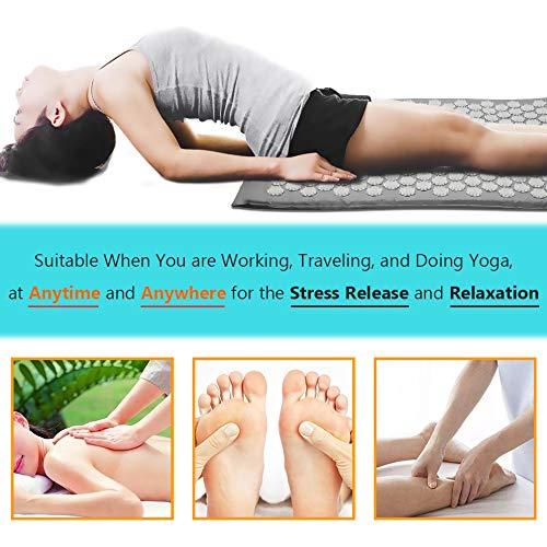 Benooa Tapis d'Acupression Kit,Lotus Tapis d'Acupuncture,Kit d'Acupuncture,Kit d'Acupression pour Douleur au cou Douleur Sciatique Soulagement de la Relaxation Musculaire