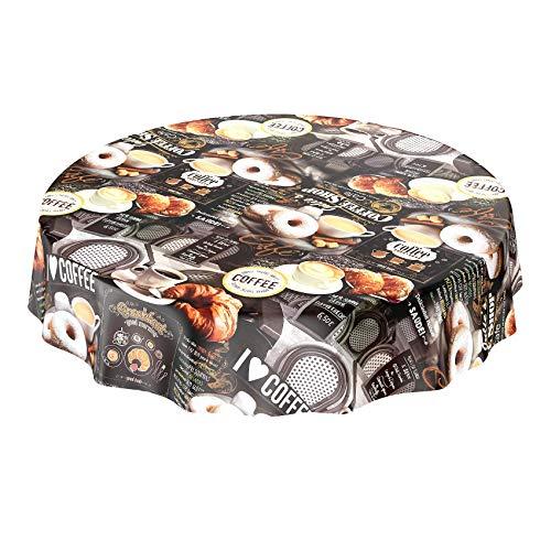 Mantel de hule, lavable, con diseño de café, donuts y croissants, de forma redonda, 100cm, toalla, multicolor, Rund 140cm