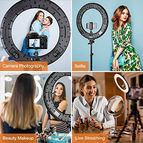 Inkeltech Ring Light - 18 inch 60 W Dimmable LED Ring Light Kit with Stand -...