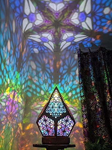 Lámparas de mesa de mosaico de colores, lámparas de noche, linternas hechas a mano para dormitorio, sala de estar, mesa de centro