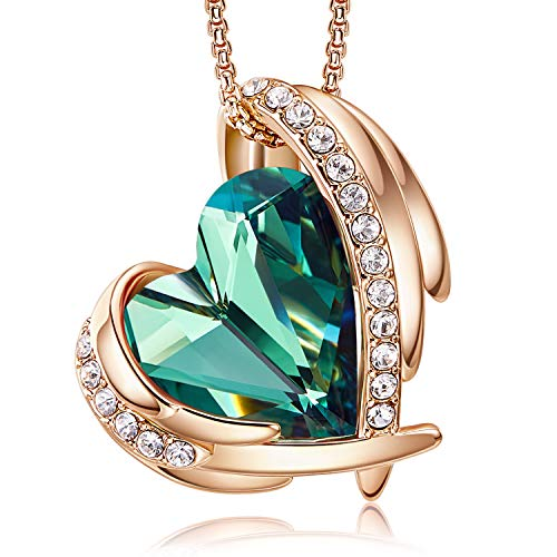 CDE 18K Rose Gold Necklaces for Women Christmas Jewellery Gifts for Her Love Heart Pendant Necklace Birthday Anniversary Gifts for Wife Mum Girlfriend(Rose Gold Green)