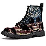 MAPOLO Women's High Top Boots Lace Up Skulls and Letters Fashion Winter Boots Casual Leather Slip Resistant Ankle Shoes Combat Boots