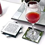 GIMORRTO Glass Mirrored Coaster 4 Set 4x4inch, Crushed Diamond Cup Mat Decor on Tabletop for Restaurant Kitchen bar Dining Table