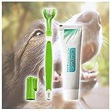 Mjjsk | Brosse à Dents pour Chien + Dentifrice pour Animaux de Compagnie, Produits de Nettoyage buccal, Soins dentaires, Dentifrice haleine fraîche - hygiène bucco-Dentaire - Chien et Chat (Vert)