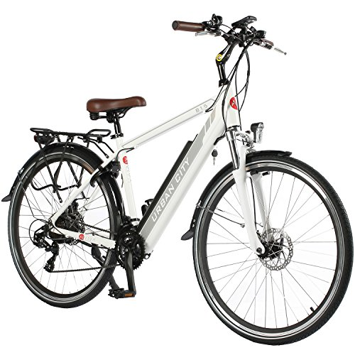 "AsVIVA E-Bike 28"" Trekkingrad Unisex, CityBike (14,5Ah Samsung Akku), 21 Gang Shimano Schaltung, starker 250W Heckmotor, weiß grau"