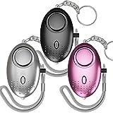 CalMyotis Taschenalarm Frauen Persönlicher Alarm Schlüsselanhänger 140DB Panikalarm Taschenlampe schlüsselanhänger für Frauen Mädchen und ältere Menschen (3 Stücke)