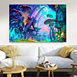 DIARQT Cuadros Decorativos Psychedelic Trippy Skull Wall Art Canvas Painting Abstract LSD Blacklight Posters e Impresiones Imágenes para la decoración del hogar de la Sala de estar-16x24inch